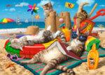 Диамантен гоблен Котки на плаж 45 x 30 см