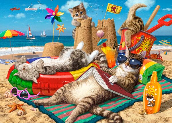 """Диамантен Гоблен """"Котки на плаж"""" - 45 x 30 см, Квадратни мъниста"""