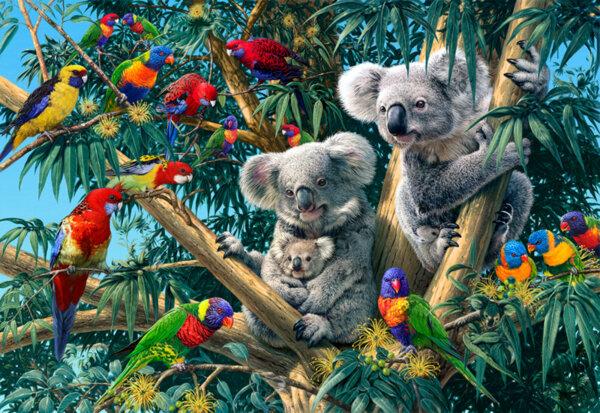 "Елмазен Гоблен ""Тропическа джунгла"" - 45 x 30 см, Квадратни мъниста"