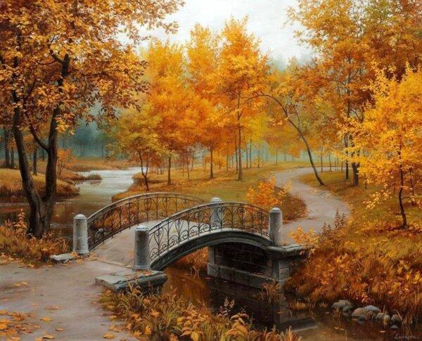 """Диамантен Гоблен """"Есен"""" - 48 x 40 см, Квадратни мъниста"""