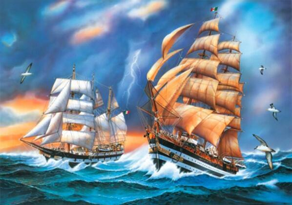 """Диамантен Гоблен """"Бурно море"""" - 40 x 50 см, Кръгли мъниста"""