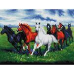 Визуализация на елмазен гоблен Галопиращи коне