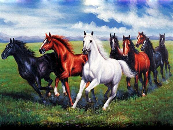 """Диамантен Гоблен """"Галопиращи коне"""" - 30 x 40 см, Квадратни мъниста"""