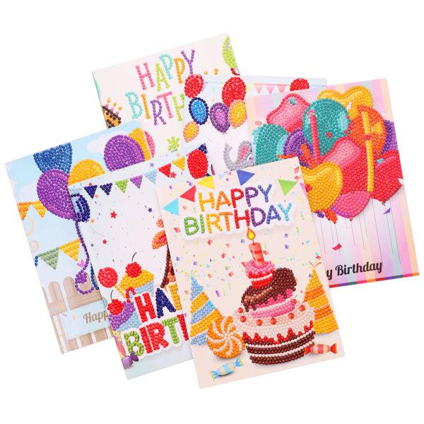 Диамантени Поздравителни Картички за Рожден Ден - 6 броя, Кръгли мъниста