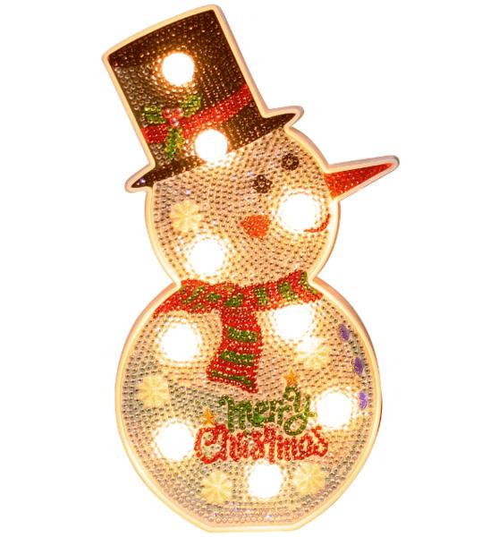 Диамантена Лампа Снежен човек - 14 х 25 см, Кръгли мъниста