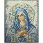 Визуализация на диамантен гоблен Богородица в синьо