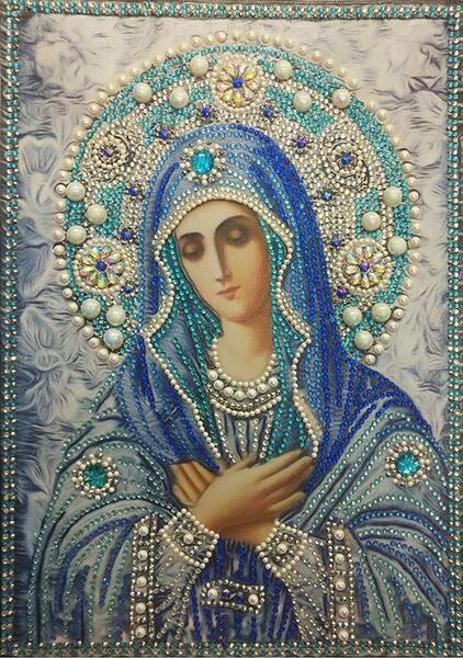 "Елмазен Гоблен ""Богородица в синьо"" - 40 x 50 см, Кръгли мъниста"