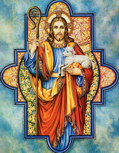 """Диамантен Гоблен """"Исус Христос"""" - 40 x 50 см, Кръгли мъниста"""