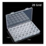 Размери на кутията за съхранение на диамантени мъниста с 28 гнезда