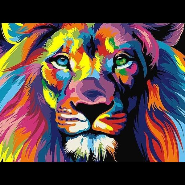 """Диамантен Гоблен """"Цветен лъв"""" - 44 x 33 см, Кръгли мъниста"""