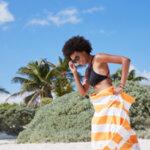 Бързосъхнеща плажна кърпа Синя-Copy