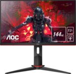 """AOC 27G2U/BK, 27"""" Wide IPS, 4ms/1ms MPRT, 1000:1, 80M:1 DCR, 250cd/m2, 1920x1080@144Hz,Tilt, Swivel, Heigh Adjust, Pivot, HDMI, DP, USB, Headphone Out, Speakers, Black/Red"""