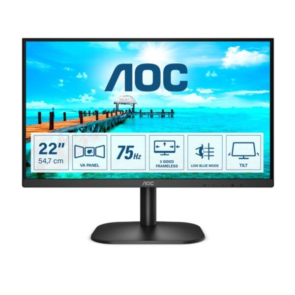 "AOC 22B2DA, 21.5"" VA WLED, 1920x1080@75Hz, 4ms GtG, 200cd/m2, 4000:1, DC20M:1, Adaptive Sync, FlickerFree, Low Blue Light, 2Wx2, Tilt, D-SUB, DVI, HDMI"