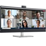 "Dell C3422WE, 34"" Curved Video Conferencing WQHD AG, IPS, 21:9, 5ms, 1000:1, 300 cd/m2, (3440x1440), 5MP IR camera, 5W speakers, HDMI, DP, USB-C, USB 3.2, RJ-45,  Microphon, Swivel, Tilt,"