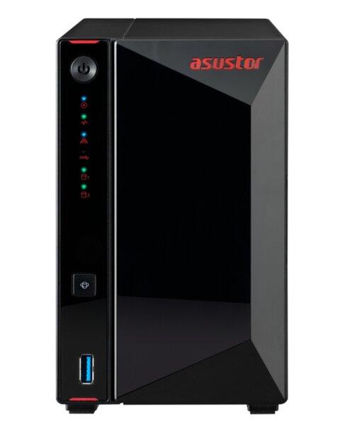 "Asustor AS5202T,2-Bay NAS,Intel Celeron J4005 Dual-Core 2.0 GHz (burst up 2.7 GHz),2GB SO-DIMM DDR4 (Max. 8GB),2 x2.5 GbE, 4 x 2.5""/3.5"" SATA3 HDD or SSD,2,USB 3.2 Gen 1 Type A x 3, WOW (Wake"