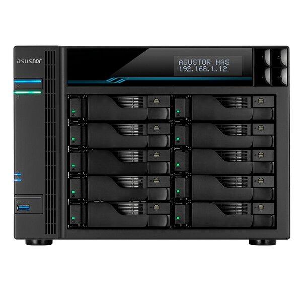 Asustor Lockerstore Pro 10 AS7110T,10 Bay NAS, Intel Xeon Quad-Core E-2224 3.4GHz (up to 4.6GHz) , 8GB DDR4 ECC SODIMM, 2.5GbE x3, 10GbE x1, M.2 Drive Slots x 2, USB 3.2Gen2 x2, USB 3.2Gen1