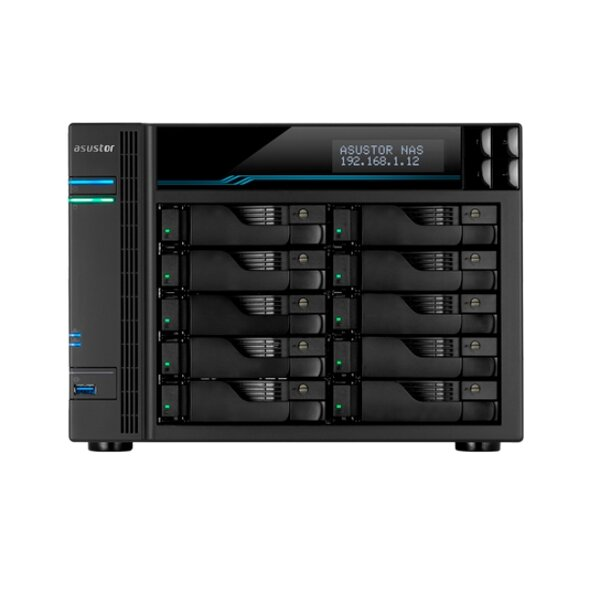 Asustor AS7116RDX, 16-bay NAS, Intel Xeon Quad-Core E-2224 3.4GHz (up to 4.6GHz) , 8GB DDR4 ECC UDIMM (Max. 128G), 2 M.2 PCIe,1 PCIe Gen3 by8, 2 PCIe Gen3 by4GbEx4, 4 USB 3.2Gen2 Type-A, 2
