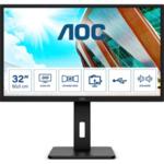 """AOC Q32P2, 31.5"""" IPS WLED, 2560x1440@75Hz, 4ms GTG, 250cd/m2, 1000:1, 50M:1 DCR, Adaptive Sync, FlickerFree, Low Blue Light, 3Wx2, Tilt, Height Adjust, Pivot, Swivel, 2xHDMI, DP, USB hub"""