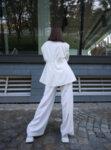 White single button oversized blazer