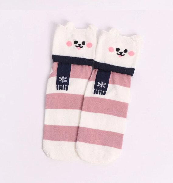 Дамски чорапи с животни - бял