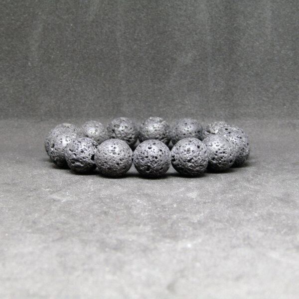 """Гривна от вулканичен камък """"Лава""""- black"""