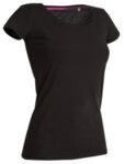 Дамска памучна тениска с широко деколте и къси ръкави