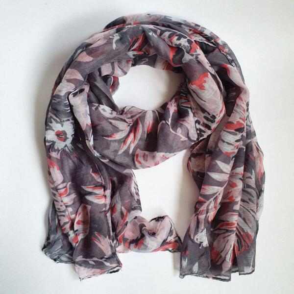Дамски шал с флорални мотиви - сив