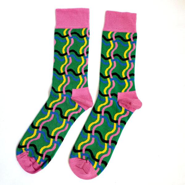 Мъжки шарени чорапи в розов и зелено