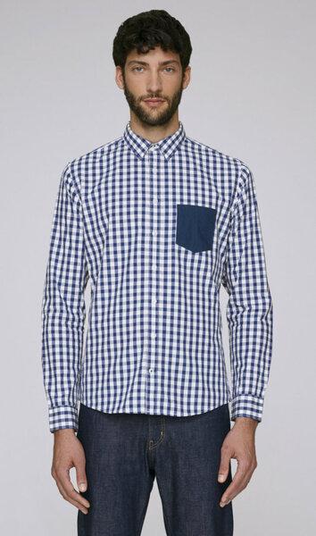 Мъжка карирана риза - бяло и синьо