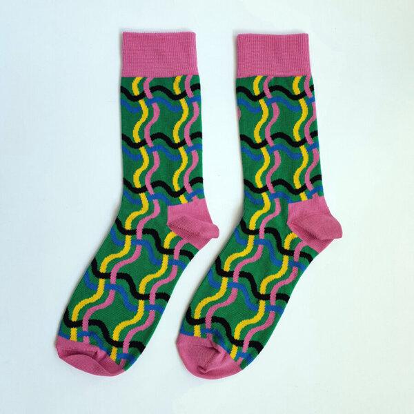 Дамски шарени чорапи - розов