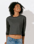 Дамска меланжирана ватирана къса блуза
