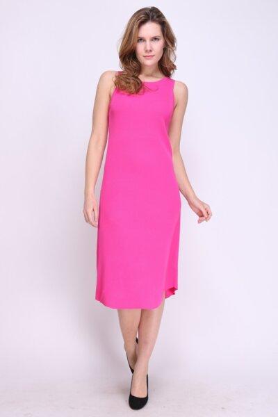 Дамска права рокля в цикламен цвят