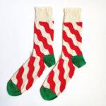 Мъжки коледни чорапи с бяло и червено