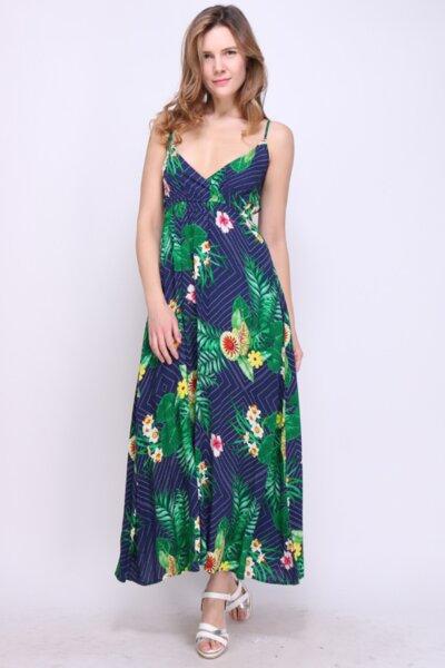 Дамска лятна рокля с тънки презрамки в тъмносиньо
