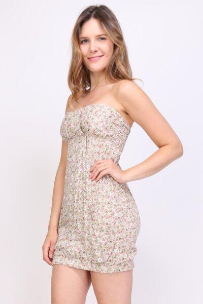 Дамска ежедневна бежова рокля с голи рамене