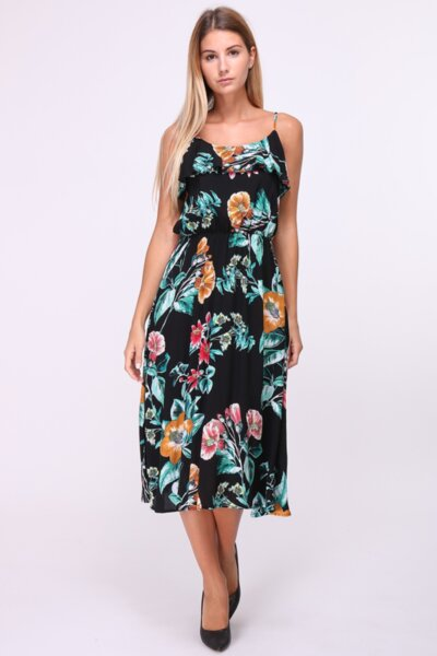 Дамска рокля на цветя в черно