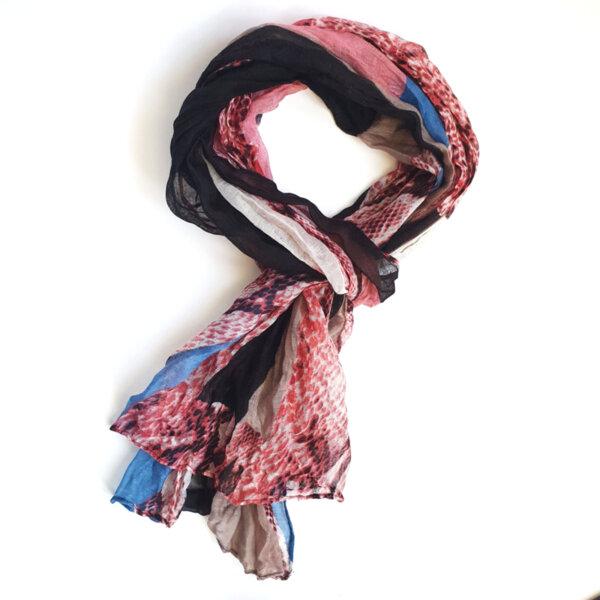 Дамски шал с животински принт розов