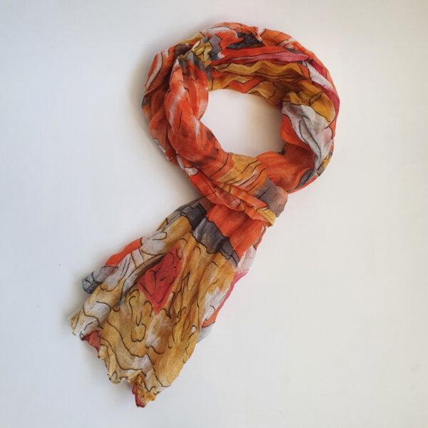 Дамски ефирен шал в оранжево