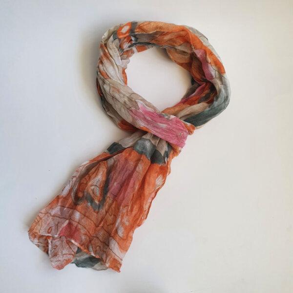 Дамски ефирен шал в оранжево и сиво