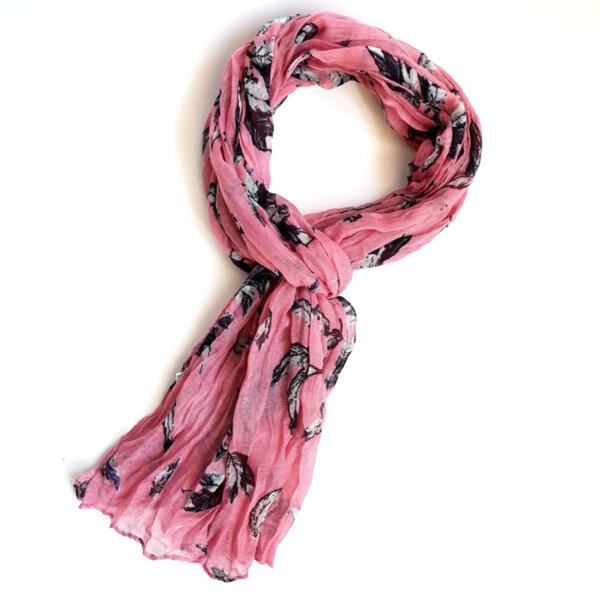 Дамски шал на цветя в розово