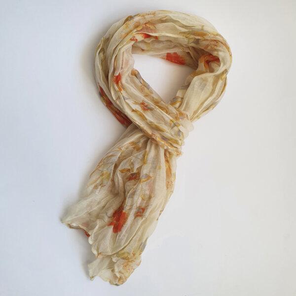 Дамски флорален шал в цвят охра