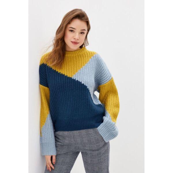 Дамски пуловер в три цвята горчица