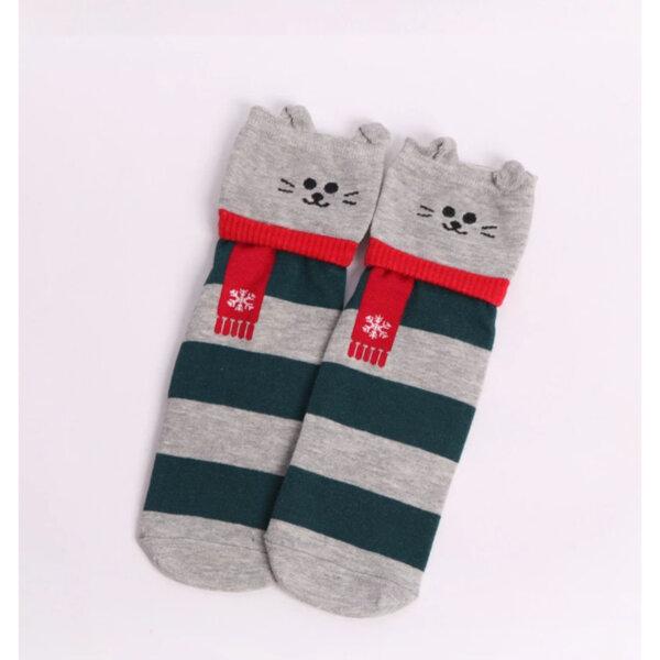 Дамски чорапи с животни -  зелен-сив