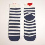 Дамски чорапи на райе в бял и синьо