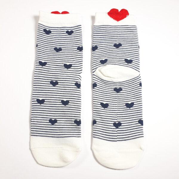 Дамски чорапи райе бяло и синьо