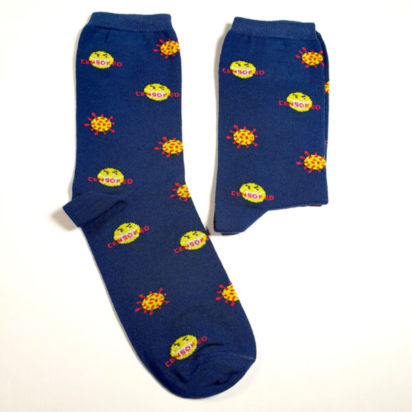Забавни дамски чорапи Вирус тъмносин