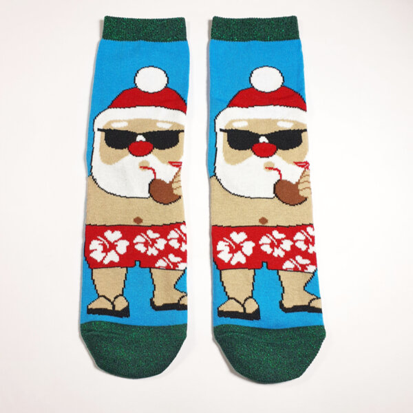 Дамски коледни чорапи Дядо Коледа с очила