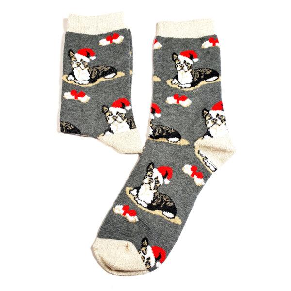 Дамски коледни чорапи с котенце сив