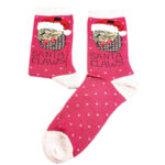 Дамски коледни чорапи с котенце червен