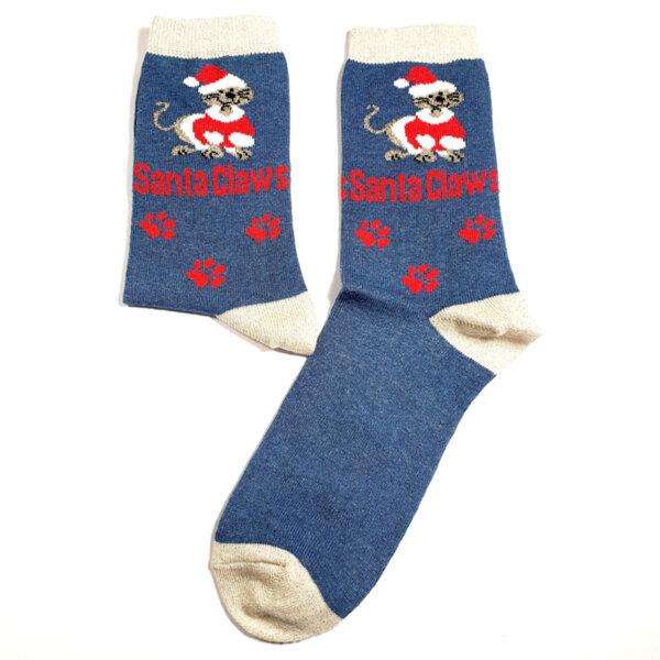 Дамски коледни чорапи с син